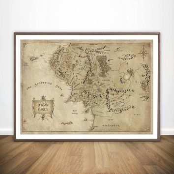 Map of Middle Earth from Lord of the Rings Movie Wall Art Paint Wall Decor Canvas Print Canvas Art Poster Oil Paintings No Frame