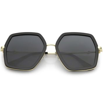 Oversize Square Geometric Sunglasses Metal Arms Gradient Flat Lens 54mm