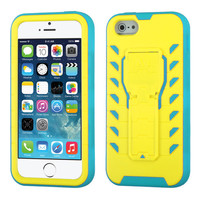 TUFF Treadz Hybrid Stand Case for Apple iPhone 5 / 5S - Yellow/Teal