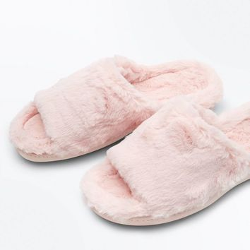 Pink Faux Fur Sliders | New Look