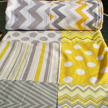 Modern Baby quilt,grey,yellow,Baby boy bedding,baby girl quilt,Patchwork Crib quilt,chevron baby blanket,polka dots,stripes,bright,fleece