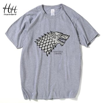 Game of Thrones Wolf T-shirt Stark Winterfell Cotton Tee shirt Winter is coming Casual Streetwear T shirt Fitness
