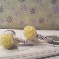 Sweet Butter Yellow glitter rose white earbuds with swarovski  crystals