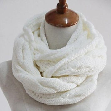 White Infinity Cable Knit Cable Knit Scarf Cable Knit Cowl Chunky Cable Knit Oversize Cable Knit Loop Cable Knit Eternity Cable Knit Soft
