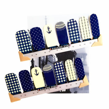 30 style Nail Wraps Stickers Navy Marine Designs Nail Arts Waterproof Nail Decal Gel Polish French Manicure Patch Makeup Tools