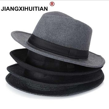 Wool men Black Fedora Hat For Women's Wool Wide Brim JazzChic Cap Vintage Panama Sun Top Hat