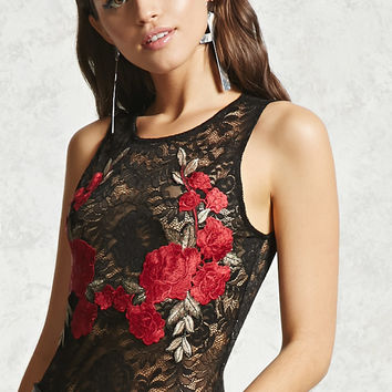 Floral Applique Lace Bodysuit