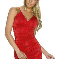 Red Gold Sequin Accent V-neck Sleeveless Ruched Bodycon Mini Dress