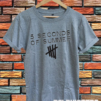5sos shirt 5 seconds of summer t-shirt sport grey printed unisex size  (DL-54)