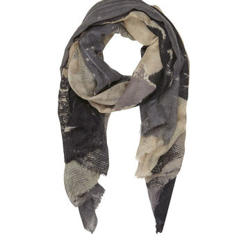 Grey Bella Ballou 'Kissed By The Rain' Printed Wool Scarf