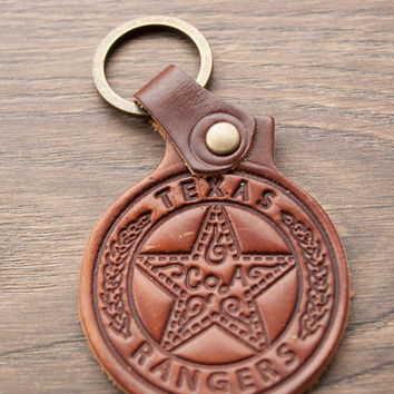 BLACK FRIDAY SALE leather keychain personalized -Texas- Rangers