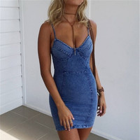 Fashion Denim Bodycon V-Neck Dress