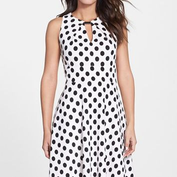 Women's Donna Ricco Polka Dot Fit & Flare Dress,