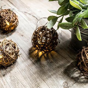 20PCS 4.5M Long Natural Brown Rattan 6CM Big Ball Festoon Fairy Lights String for Wedding Holiday Party Home Garden Decoration