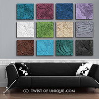 Concrete Abstract painting / CUSTOM 12 square (15 Inch x 15 inch)/ Bold colors, White, teal, brown, wine, chartreuse, sky-blue, Navy, Green