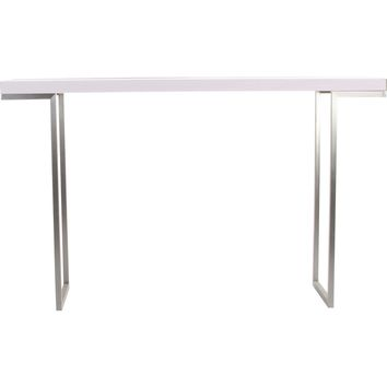 Repetir Console Table White Lacquer Top Brushed Stainless Base