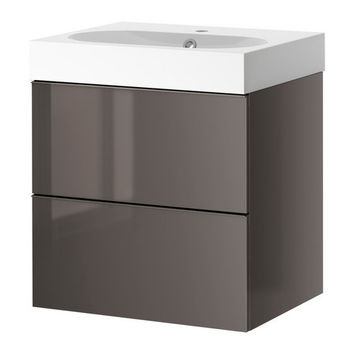 "GODMORGON/BRÅVIKEN Sink cabinet with 2 drawers - high gloss gray - 31 1/2x19 1/4x26 3/4 "" - IKEA"