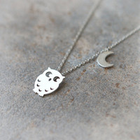 Owl and Moon Necklace