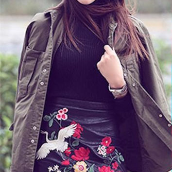 Priya Floral Mini Leather Skirt