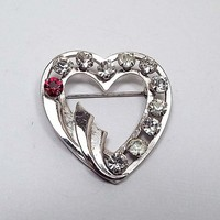 Gold Filled Vintage Rhinestone Heart Brooch, Silver Color 1 20th 12K GF, Valentines Day, Gift for Her, Mid Century 1960s 60s