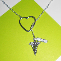 Medical, Nurse, Athletic Trainer, Doctor Lariat Necklace with Heart, Band aid, and Caduceus Charms