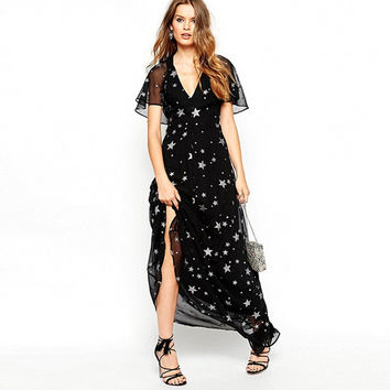Fashion 2016 New Summer Dress Women Casual Loose Vestidos Sexy Backless Stars Printing Long Maxi Vintage Dresses Plus Size