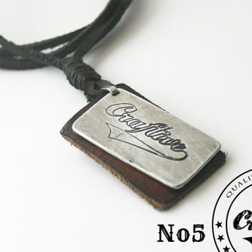 Leather Cord Necklace with Leather pendant and engraved tag - military necklace style - Custom Logo - Free Shipping