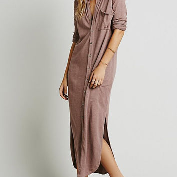 Pink Half Sleeve Maxi Shift Slit Pocket Dress