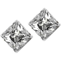 No Piercing Magnetic Stud Earrings Men Square CZ Princess Cut Silver 4mm
