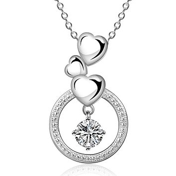Womens Necklace Gift Ideas Dangling Hearts Swarovski Pendant Necklace