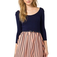 Peachy Stripe Belted A-Line Dress