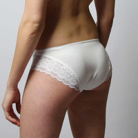 organic cotton panties with lace trim - CAROUSEL lingerie range - made to order
