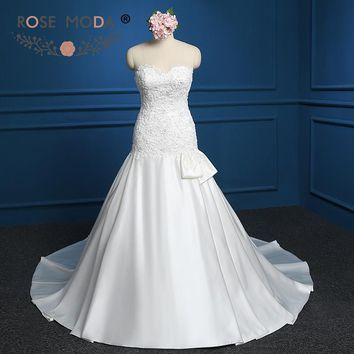 Rose Moda Sweetheart Neck Fit and Flare Lace Appliqued Trumpet Wedding Dress with Pearls High Quality Real Photos