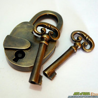 Set of Working Antique Vintage Brass OLD PADLOCK with SKELETON Key Lock Unused