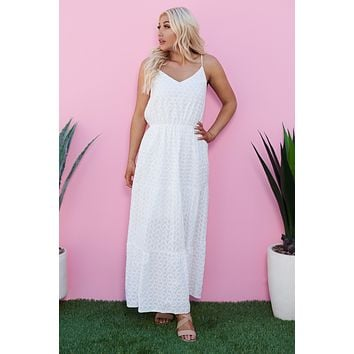 Morning Glory Embroidered Maxi Dress (White)