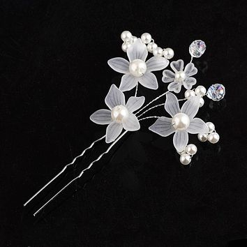 1PC Fashion Floral Wedding Shiny Hair Fork Gilded Crystal Pearl Jewelry Romantic Queen Prince New Bride Headdress Hairpins