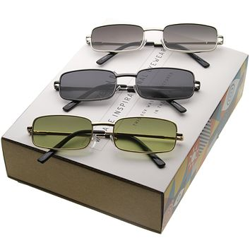 1990's Retro Indie Small Square Metal Sunglasses C719 [Promo Box]