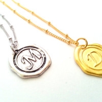 FLASH SALE Wax Seal Monogram Necklace, Bridesmaid Gift, Initial necklace, Layering,  Bridal Party, Jewelry & Accessories, Gift idea