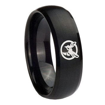 8MM Honey Bee Satin Black Dome Tungsten Carbide Laser Engraved Ring