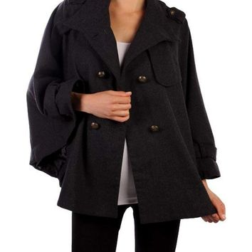 Swing Coat w/Bell Sleeve, Black