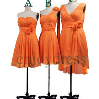 Custom Orange Short Bridesmaid Dresses 2014 Cheap Party Dress Wedding Party Dress Simple Chiffon Dress Short Prom Dress Homecoming Dresses