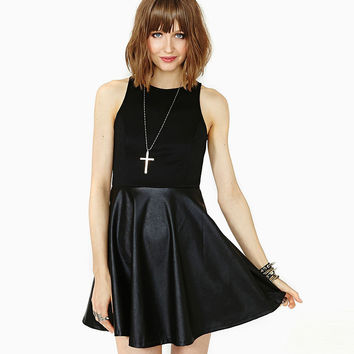 Black Sleeveless Cutout Back Skater Mini Dress