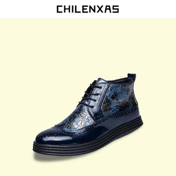 CHILENXAS Spring Autumn Patent Leather Shoes Men Casual 2017 New Fashion Lace-up Print Ankle Boots Breathable Height Increasing