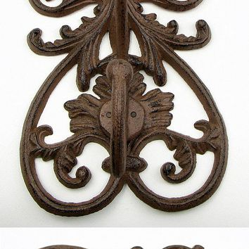 Cast Iron French Scroll Wall Double Hook