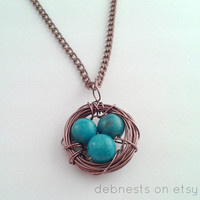Turquoise Dyed Jasper Bird Nest Necklace with Antique Copper Wire and Chain