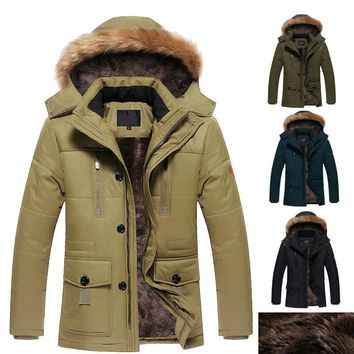 Winter Parka cotton men Jacket outerwear Fur Hood Plus Size 5XL Winter Jacket Fashion Men's Coat