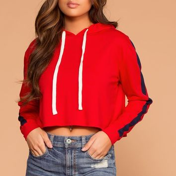 Jess Red Stripe Hoodie Crop Sweatshirt Top