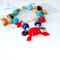 Marine Teething necklace Toy Crab Red blue Crochet Nursing necklace Breastfeeding Sea ocean Snail