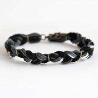 Black braid bracelet for him, male bracelet, male friendship bracelet, gift for him, black bracelet