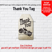 Instant Download, Motorcycle #668 bike thank you gift, alice party, Thank you TAG, 3.5x2inch printable , non-editable NOT CUSTOMIZABLE
